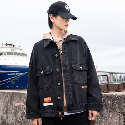 PLAYBOY Vải Jean  Playboy mùa thu denim đen mới áo khoác nam phiên bản Hàn Quốc của bản vá lỏng in á