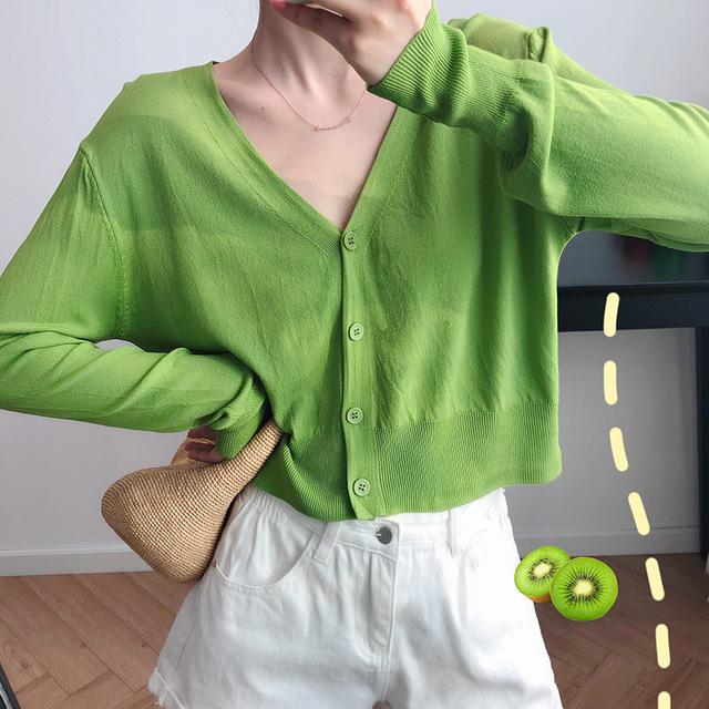 LXAY Áo khoác Cardigan Áo len lụa Luxi áo len nữ mùa hè 2019 mới mỏng áo chống nắng áo khoác ngoài á