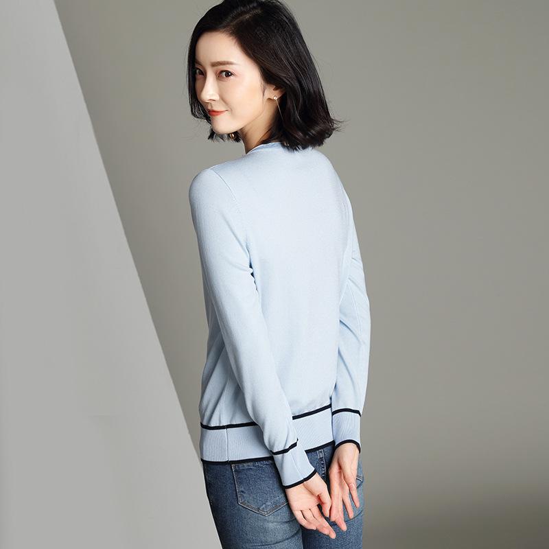 AYUMEI Áo khoác Cardigan Áo len dài tay mùa thu mới 2020 với áo len ngắn cổ chữ V áo len mỏng