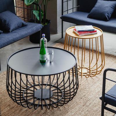 DOURENAO Bàn trà Bắc Âu gia đình nhỏ phòng khách rèn bàn cà phê sắt Studio sáng tạo bí ngô nhỏ bàn c