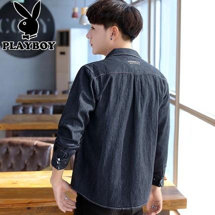 PLAYBOY Vải Jean  Playboy denim áo sơ mi nam thương hiệu xu hướng dài tay quần áo nam sinh viên Hàn
