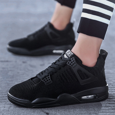 Giày FuJian Giày nam mùa thu mới thoáng khí giảm xóc 2019 giày thể thao aj1 bay dệt màu đen xu hướng