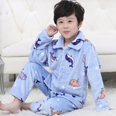Gấu bảy màu Trang phục Jean trẻ em Mùa thu và mùa đông trẻ em flannel đồ ngủ bé trai và bé gái hoạt