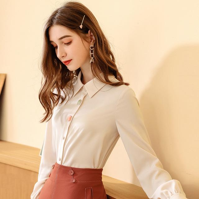 KANFEI tay dài Áo sơ mi nữ mang hương vị Hồng Kông mùa thu đông 2019 khí chất mới nhẹ quen thuộc áo