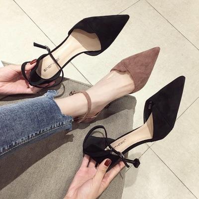 Giày GuangDong 6913 Phiên bản Hàn Quốc của mùa xuân hè 2019 xu hướng giày cao gót da lộn hoang dã gi
