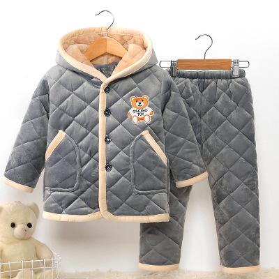 Đồ ngủ trẻ em Mùa thu và mùa đông trẻ em flannel đồ ngủ dày pha lê nhung ấm áp chàng trai và cô gái