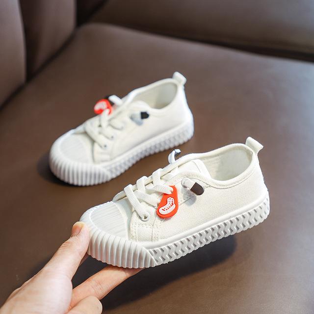 giày vải 2578 # 2019 mùa thu mới kẹo màu cắt thấp chân trẻ em giày vải lười giày bé trai và bé gái