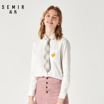 SEMIR Áo sơ mi Áo sơ mi nữ tay dài Senma 2019 mùa đông mới thêu áo cotton trắng áo sơ mi nữ sinh đại