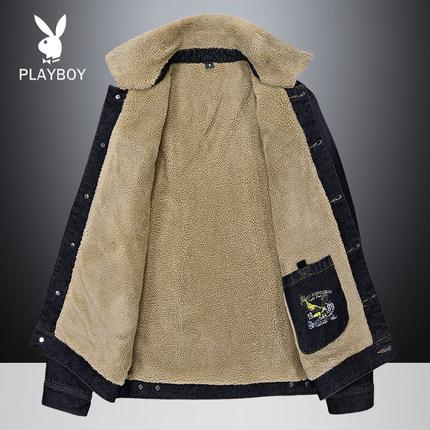 PLAYBOY Vải Jean  Playboy denim jacket nam áo khoác ngoài mùa đông 2019 mới giản dị cộng với nhung l