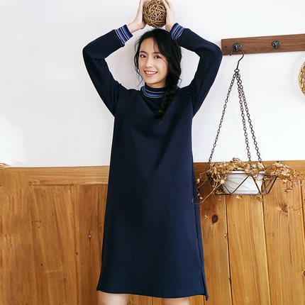 Yinman Đầm Cửa hàng Inman hàng đầu giải phóng mặt bằng đặc biệt bán mùa đông sọc nhỏ cổ tròn lỏng lẻ