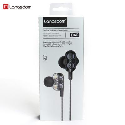 langsdom Tai nghe có dây Lanston D4 lõi tứ di chuyển vòng đôi ăn gà tai nghe trong tai nghe siêu trầ