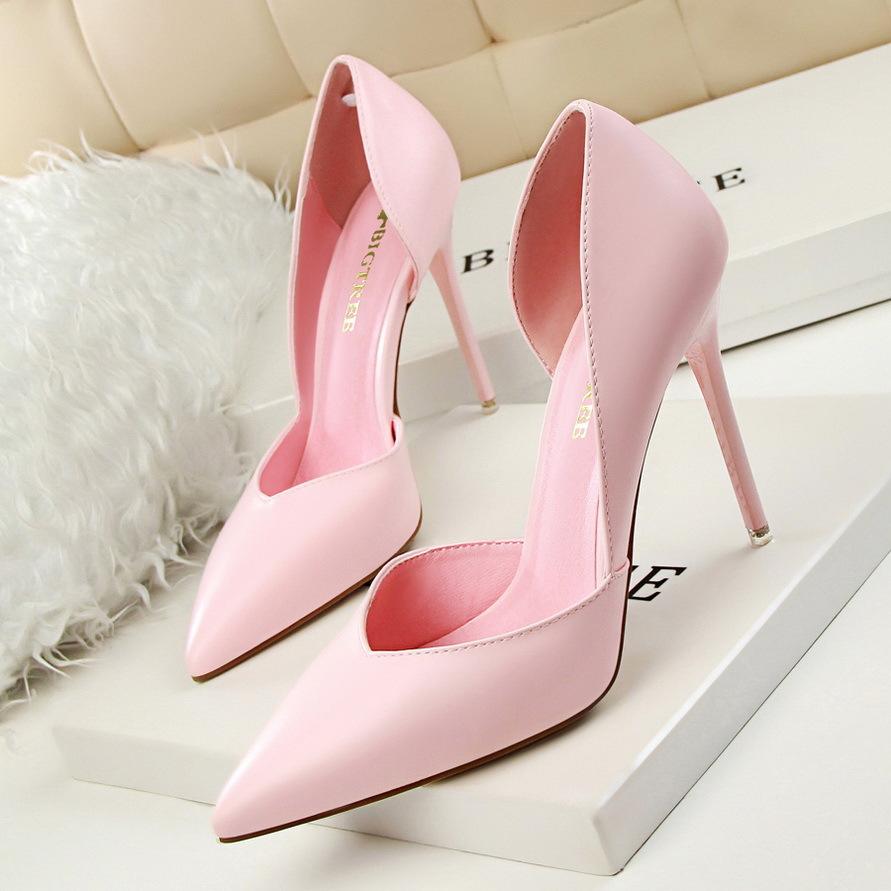 BIGTREE Giày GuangDong 3168-3 Phiên bản tiếng Hàn của thời trang hộp đêm gợi cảm đơn giản, giày nữ m