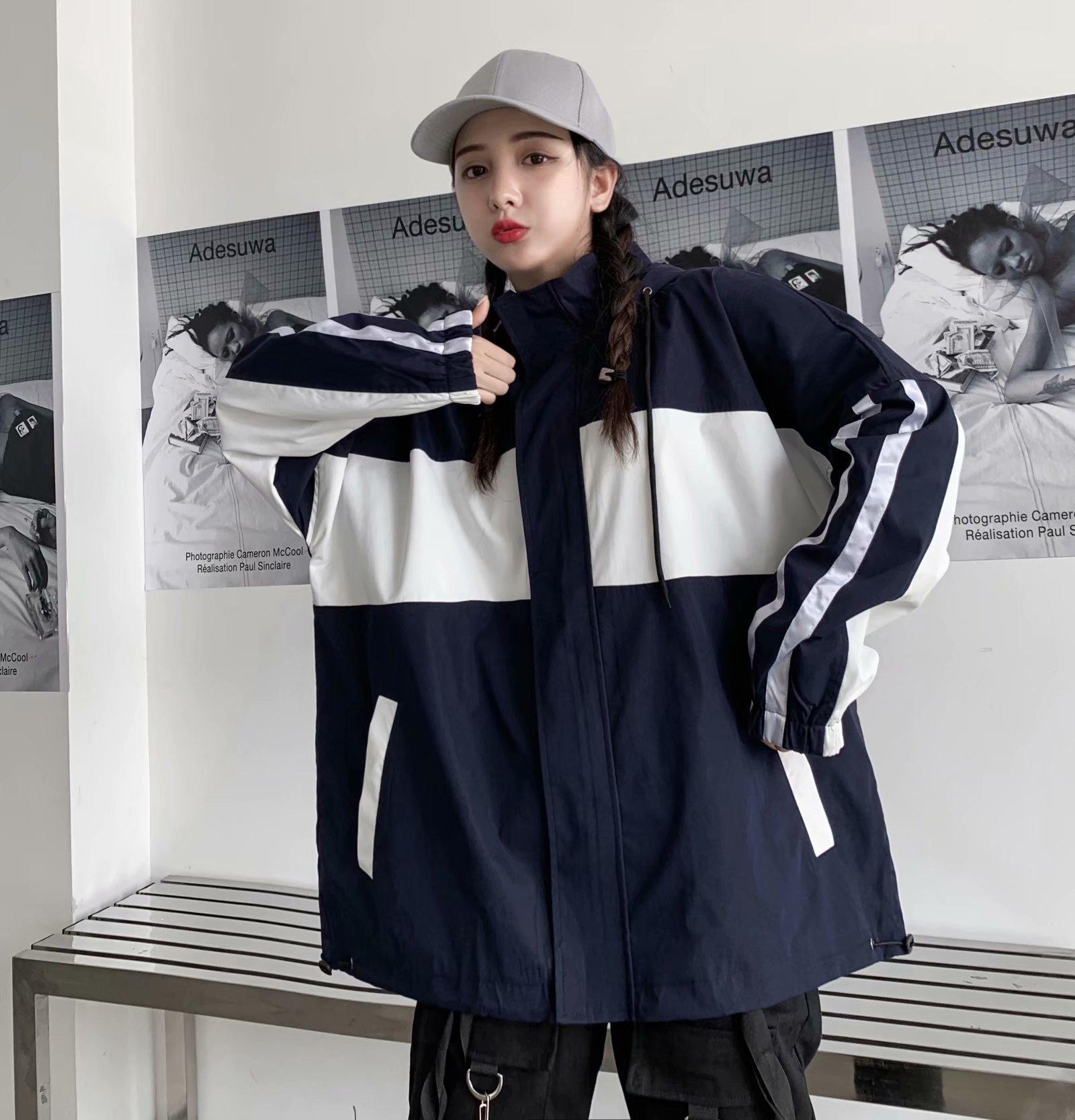 áo khoác 19 mùa thu nữ châu Âu và Hoa Kỳ áo khoác trùm đầu áo khoác gió đôi thủy triều với đoạn lỏng