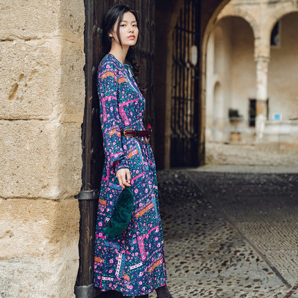 Yinman Đầm [Giải phóng mặt bằng] Inman văn học hốc màu tương phản Pháp váy hoa thắt lưng nữ dài phần