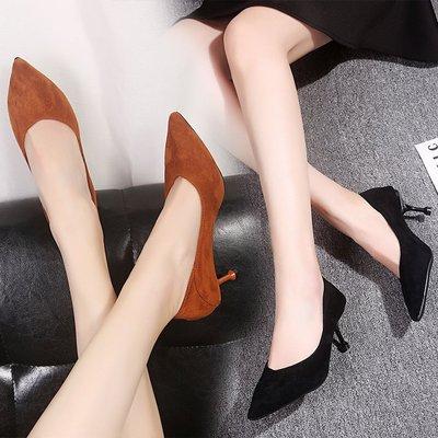 giày cô dâu Xuân 2019 đầu nhọn với giày cao gót nữ gợi cảm đẹp với không khí bên hông nông màu đen s