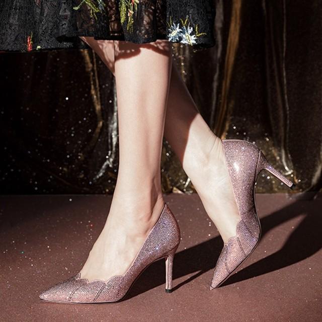 Giày cô dâu Túi tóc giúp Xiang Geer 2018 mới xuân hè mới giày cao gót nữ giày cao gót pha lê stilett