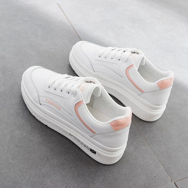 giày bánh mì / giày Platform Túi tóc giúp mùa thu 2019 mới đôi giày trắng thoáng khí nữ cơ bản giày