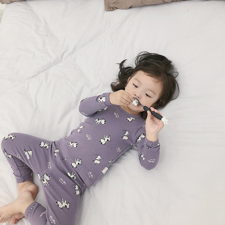 Đồ ngủ trẻ em Đồ lót trẻ em đặt mùa thu dịch vụ nhà bé trai và bé gái mùa thu quần dài quần len kéo