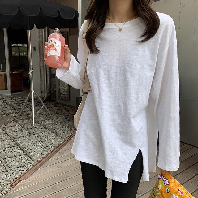 Hooozen tay dài Đầm Astragalus đế bệt màu sắc chia gấu áo thun dài tay nữ 2019 mùa thu Hàn Quốc áo c
