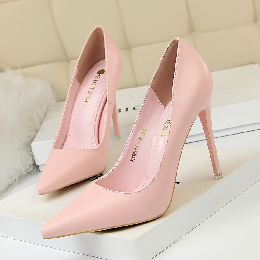 BIGTREE Giày GuangDong 9511-17 Phiên bản Hàn Quốc của giày thời trang nữ đơn giản là giày cao gót đế