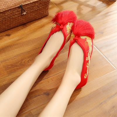 giày cô dâu Nguồn gốc của giày cưới gió nữ quốc gia tua rua phong cách Trung Quốc cho thấy anh giày
