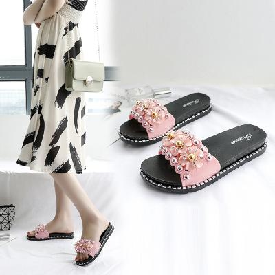 Giày da một lớp  Dép lưới màu đỏ Giày nữ bên ngoài mang dép nữ mùa hè mới kéo dép thời trang Hàn Quố
