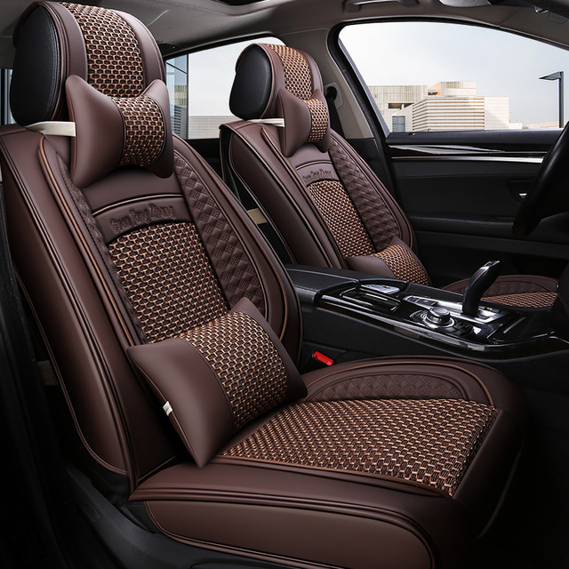 GUANTANGZHANG Drap bọc ghế xe hơi Băng lụa bọc da 5D đầy đủ bốn mùa đệm đệm GM