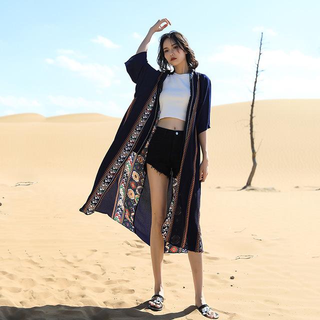 YCSL áo khoác Sa mạc Nepal kỳ nghỉ du lịch retro cardigan bãi biển kỳ nghỉ gió voan chống nắng quần