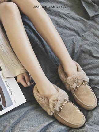 Giày nữ hàng Hot Giày đậu nữ Maomao mùa đông cộng với nhung dày một chân 2019 mới mang đa năng giày