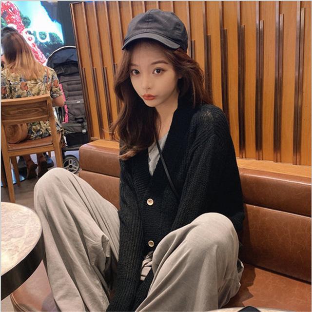 OLOEY tay dài Mùa thu đông 2019 phiên bản mới của Hàn Quốc mohair áo len ngắn nữ áo len retro dài ta