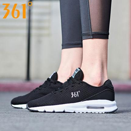 361 Giày lưới  361 giày thể thao nữ màu đen lưới thoáng khí mùa đông đệm không khí chạy giày hấp thụ