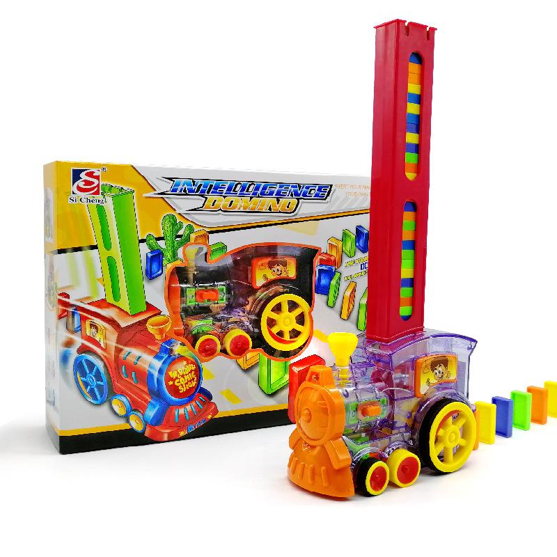 SICHENG Đồ chơi Âm thanh rung với cùng một chiếc xe lửa Domino tự động đặt chiếc xe domino 3-6 tuổi