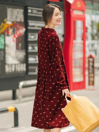 Yinman Đầm Inman 2019 mùa thu mới văn học retro hoa Pháp trong chiếc váy dài nhung xếp li dài