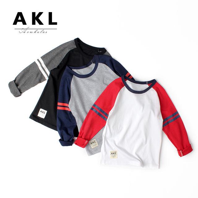 AOWKULAE áo thun Túi tóc giúp trẻ em Áo thun 2019 mùa thu mới Hàn Quốc của bé trai áo dài tay đáy qu