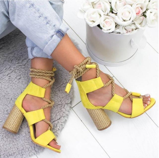 thắt dây Giày sandal nữ đế xuồng 2019 mới cực cao, đế dày có dây đeo chéo màu