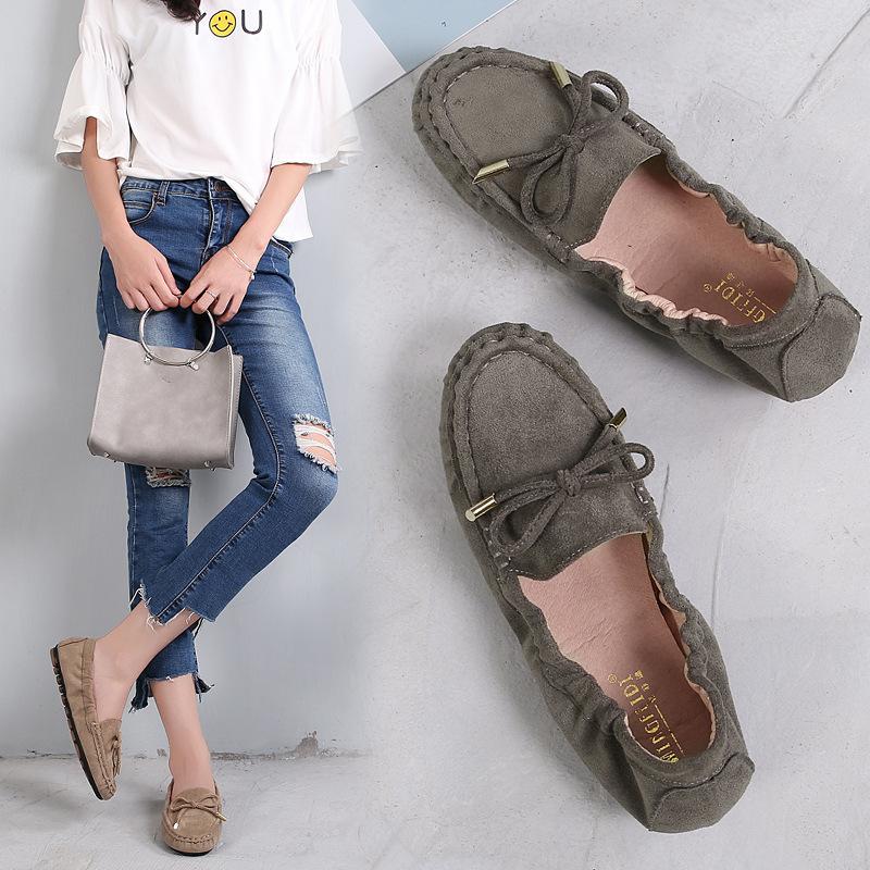 MINGFEIDI Giày mọi Gommino Túi đựng giày đậu Hà Lan nữ 2019 mùa thu mới phẳng mặc bên ngoài lười mềm