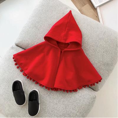 khác Áo choàng trẻ em  Mùa thu và mùa đông mô hình áo choàng đỏ trùm đầu trẻ em ra khăn choàng cô gá
