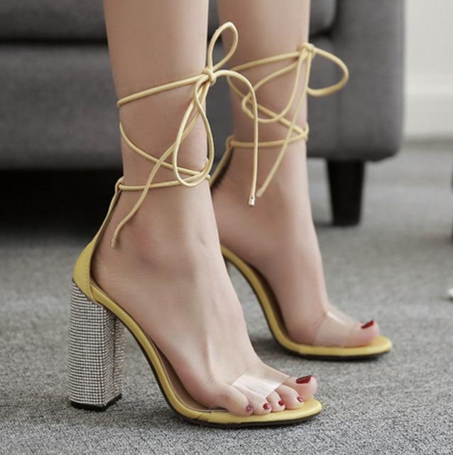 NIUFUNI thắt dây Túi tóc giúp 2018 Châu Âu và Hoa Kỳ xuyên biên giới giày nữ cao gót mới dày rhinest