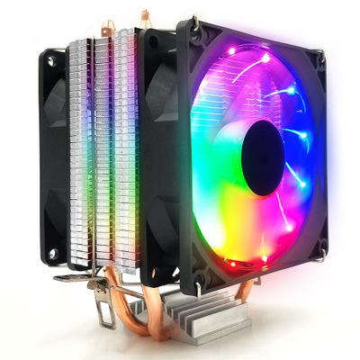 COOLMOON bộ tản nhiệt CPU làm mát đôi ống đồng cực êm Máy tính để bàn AMD1155 Máy tính để bàn quạt l