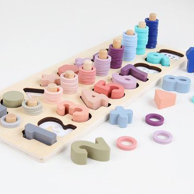 Đồ chơi Macarons màu gỗ ba trong một giúp bé nhận biết số và hình .