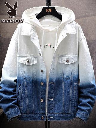 PLAYBOY Vải Jean  Playboy denim jacket nam 2019 xuân hè thu đông mới quần áo thương hiệu áo khoác rộ
