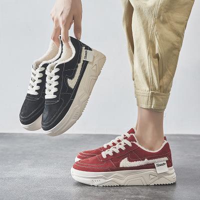 Giày Loafer / giày lười Mẫu giày bùng nổ 2019 giày đế bệt mùa đông và nhung cộng với đế dày bằng vải