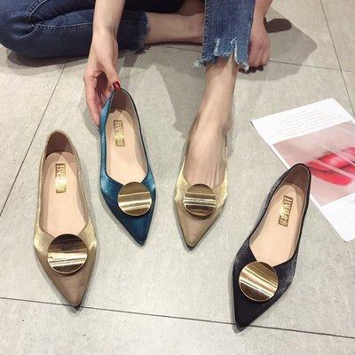 giày cô dâu Phiên bản Hàn Quốc của khóa tròn miệng nông mũi nhọn 2019 mới satin phẳng với giày đơn g