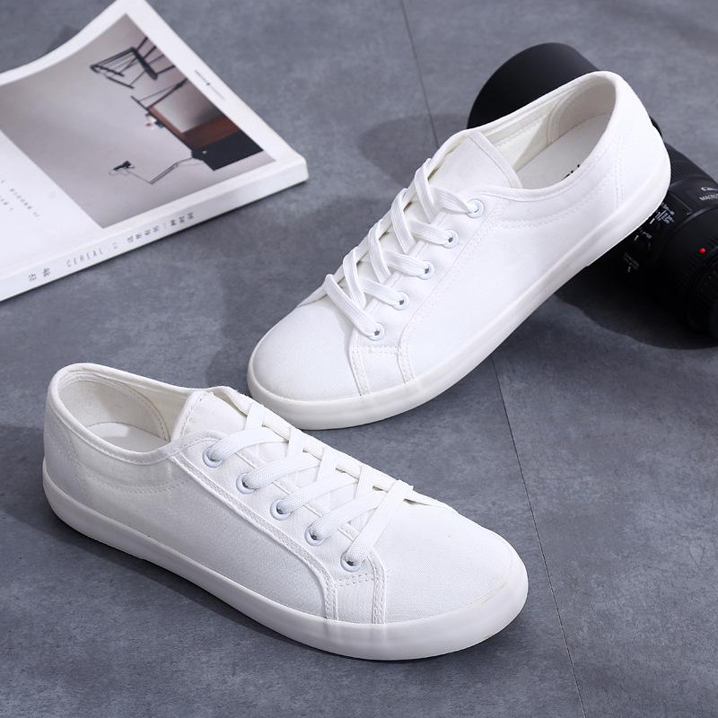 YUANBU Giày vải đế xuồng nam đế bệt với thời trang hoang dã nghệ thuật Giày trắng giản dị Phiên bản