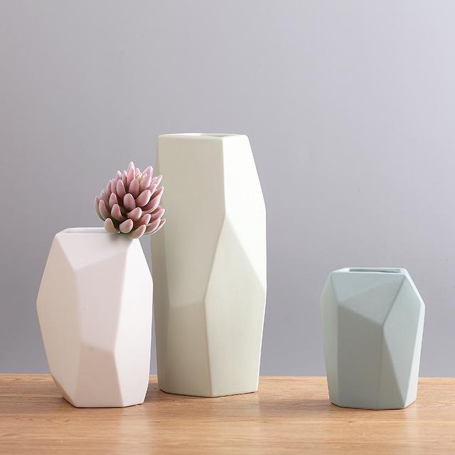KELIDA - Bình cắm hoa hình học bằng gốm sứ trang trí hiện đại