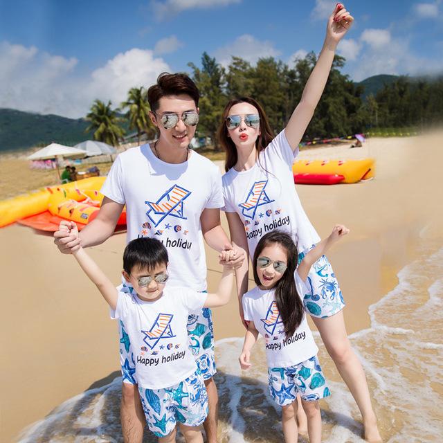 HLBB Áo thun gia đình Túi xách giúp gia đình đi nghỉ mát để cài đặt một gia đình ba nhà bốn gia đình