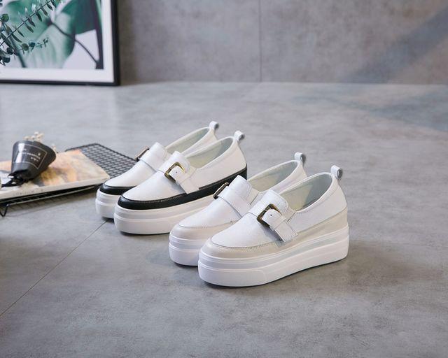 giày bánh mì / giày Platform Túi lông giúp Giày da có chiều cao bên trong 41 42 lò xo dày phía dưới