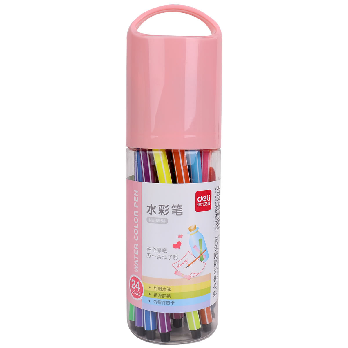 DELI Đồ mỹ nghệ Bút màu nước hiệu quả 6954 Chúc chai 24 màu vẽ tranh nghệ thuật màu bút trôi chai mà