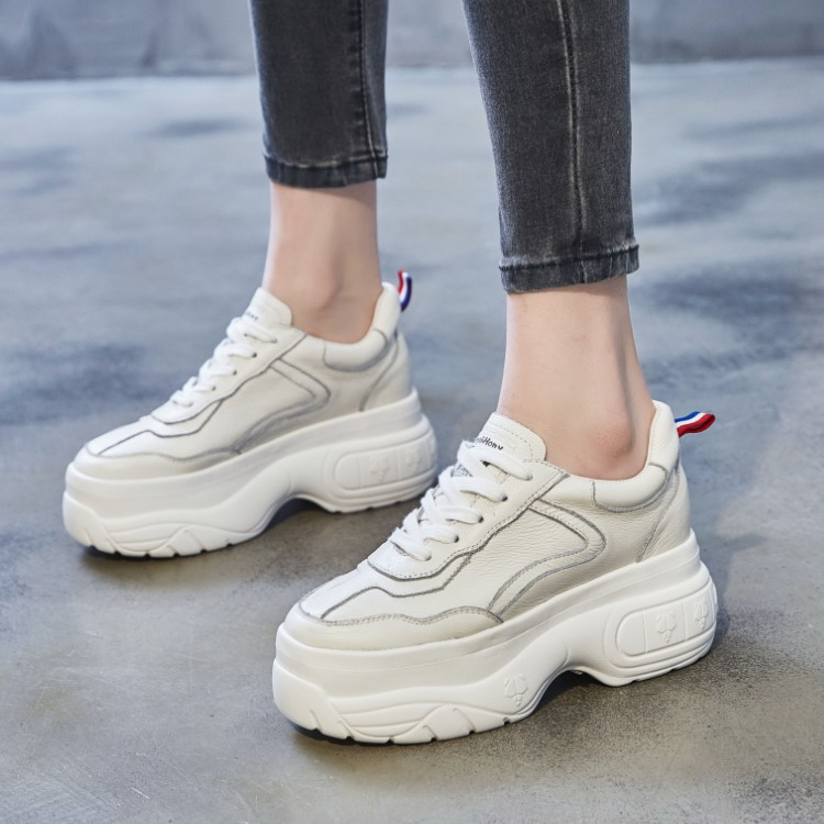 JUMAO Giày xuân mới 2019 đế dày mới tăng 9CM Phiên bản tiếng Hàn của giày đế xuồng hoang dã dành cho