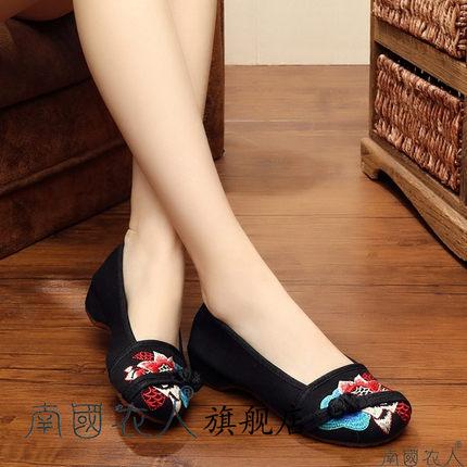 NGYR Vải thêu  Giày vải thêu Bắc Kinh cũ mới gót thấp đặt chân gân gót quốc gió đơn giày có khóa bên